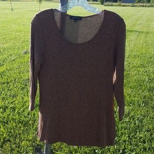 Slinky brand brown 3/4 sleeve knit tunic, xs